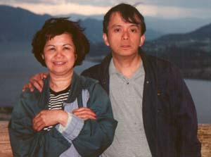 Neda and Ricardo on top of Kelowna, BC Overview Park, June, 1998